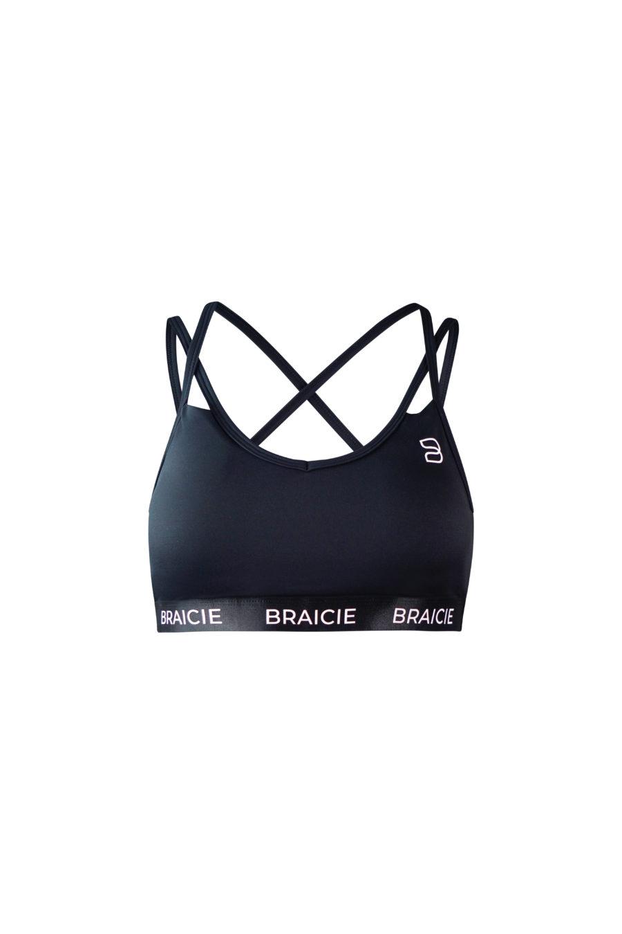 Damen Sport-BH schwarz mit herausnehmbaren Cups und Push Up für Fitness